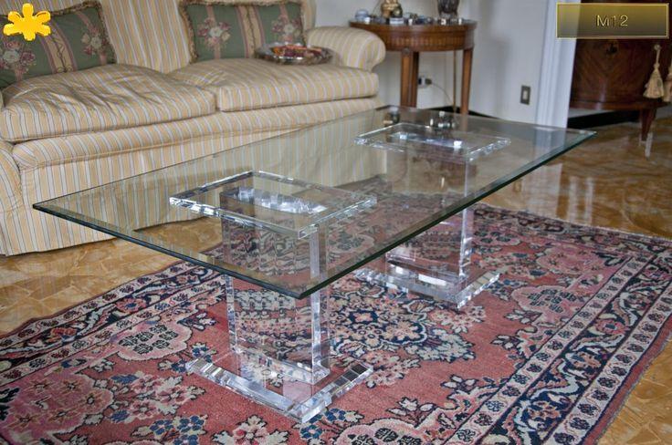 Lucite Acrylic coffe table - TAVOLINI DA SALOTTO IN PLEXIGLASS | Tavolo trasparente in plexiglas 10.mod.  M12   | Tavolino in plexiglas cm.130 x 70 h.40 - 2 basi mod. M12 fusto sp.cm.8 - piani cm.35 x 25 sp.mm.50 - cristallo sp.mm.12
