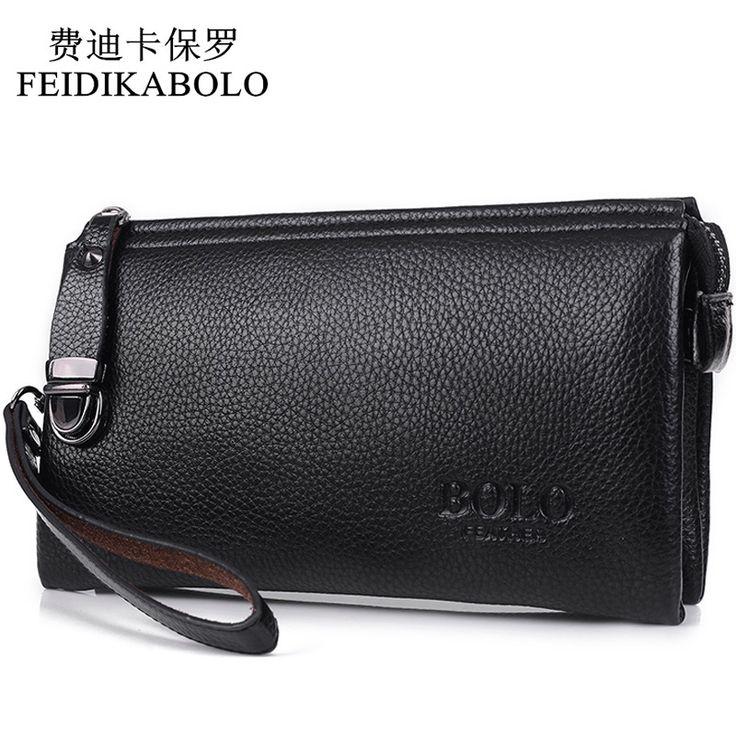 Feidikabolo moneder famosa marca los hombres de lujo de la carpeta larga del embrague bolsa de mano masculina de cuero bolso de los hombres bolsos de embrague carteira masculina