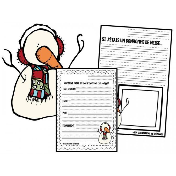 Ce document de 5 pages contient deux situations d'écriture : Si j'étais un bonhomme de neige... et Comment faire un bonhomme de neige? La première convient plutôt aux élèves de première année. Ces derni