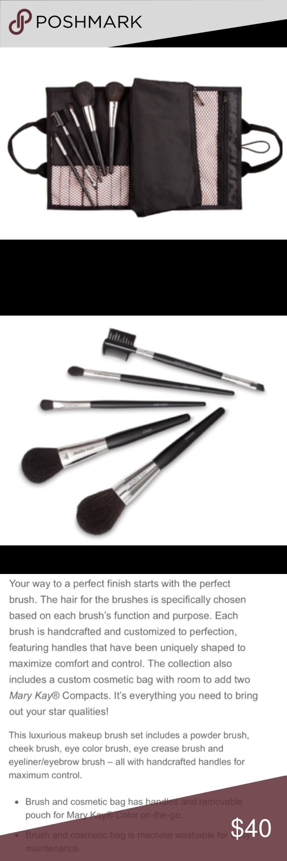 Mary Kay Brush Collection with bag NWOT or original packaging. Never used. Complete brush set with bag. Five brushes included are: powder brush, cheek brush, eye defined brush, eye crease brush and dual ended eye liner/ eye brow brush. Bag fits all brushes including ones that are sold separately. Has multiple zippered compartments and pockets. See pics for additional product details. Retails for $55. Please look at my other Mary Kay listings- I'm usually the lowest on Poshmark! Mary Kay…
