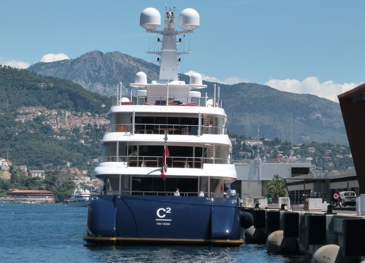 Superyacht C2 in Monaco. The C2 was purchased by Ronald Perelman in 2009.  Yacht Length: 78 m (257 ft), Guests: 14 in 7 cabins, Crew: 22 in 10 cabins, Yacht Value: US$ 125 million
