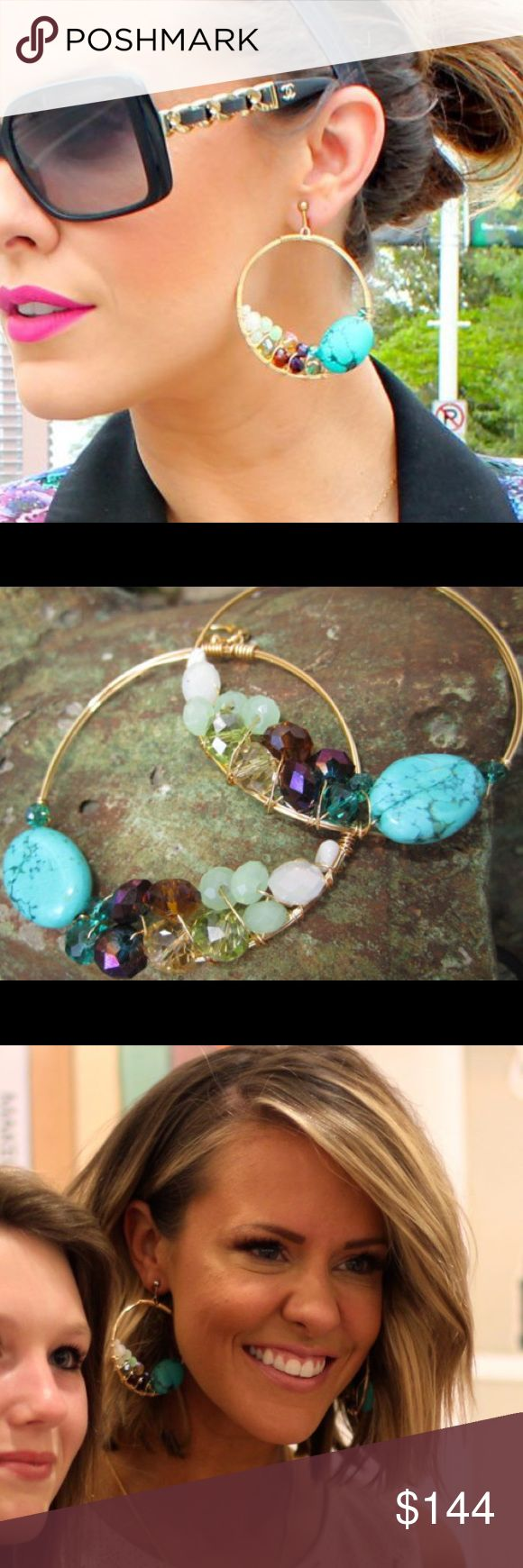 Rory Ashton mermaid earrings turquoise/crystals **** would LOVE to trade for Vintage GUCCI BAG ONLY***Rory Ashton Mermaid signature Cluster hoop collection Earrings,(handmade,gold plated wire hoop,turquoise &faceted crystals).new:RA giftbox/2014 series/still current.designer earrings in 100+us Locations.purchased in her Etsy days when was just starting out,collector's item,Can supply proof payment$144each.had purchased 2(loved them).never worn.-true gypsy inspired style,these earrings add…