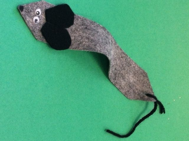 """This felt bookmark was a great activity for our book club when we discussed """"The Tale of Despereaux"""". We used a lot of different color felt for bodies and ears so the children all had different looking mice. #Greenwich Library #Children's #Crafts"""