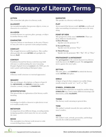 Literary Elements Worksheet: 17 Best ideas about Literary Terms on Pinterest   Short stories    ,