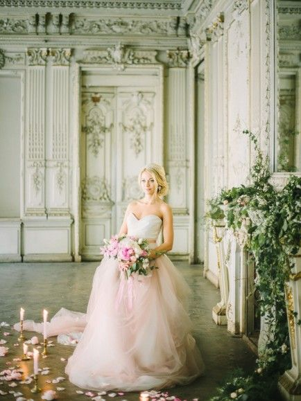 Pink princess wedding dress | Rodion Shapor Photography | see more on: http://burnettsboards.com/2015/12/fairytale-rose-quartz-wedding-inspiration/