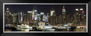 Buildings in City Lit Up at Night, Hudson River, Midtown Manhattan, Manhattan, New York City Photographic Print by Panoramic Images at Art.com