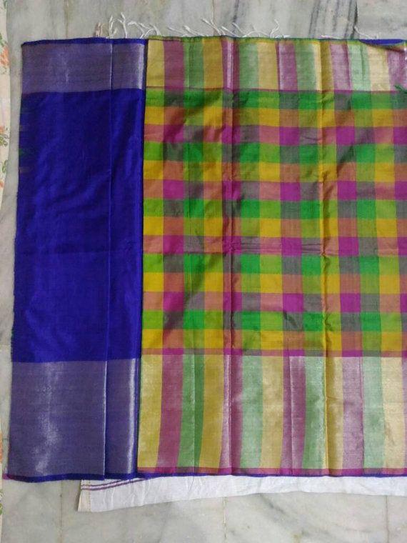 Uppada Royal Blue Color Silk Saree with silver zari by UppadaPattu