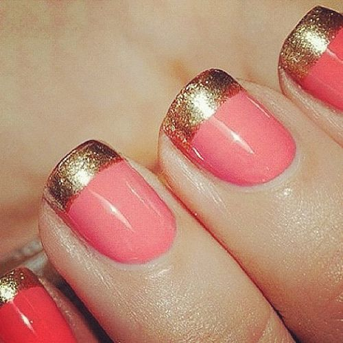Coral and gold nails