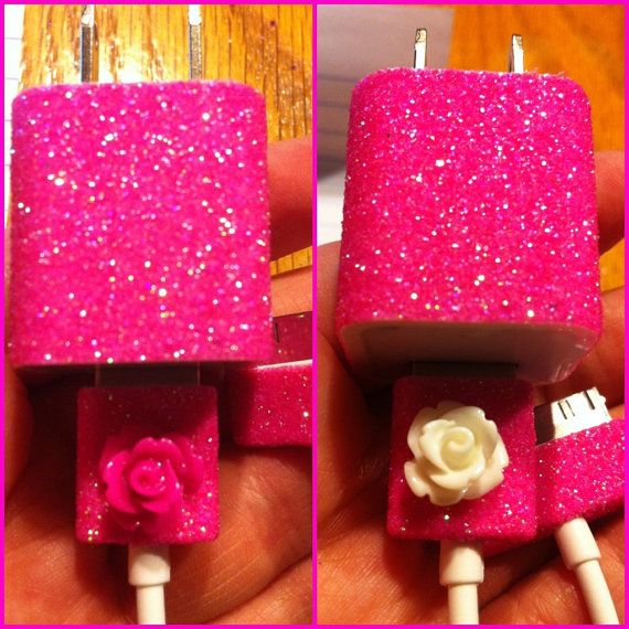 iPhone+Charger+customized+glitter+charger+by+glitzznglam+on+Etsy,+$17.00