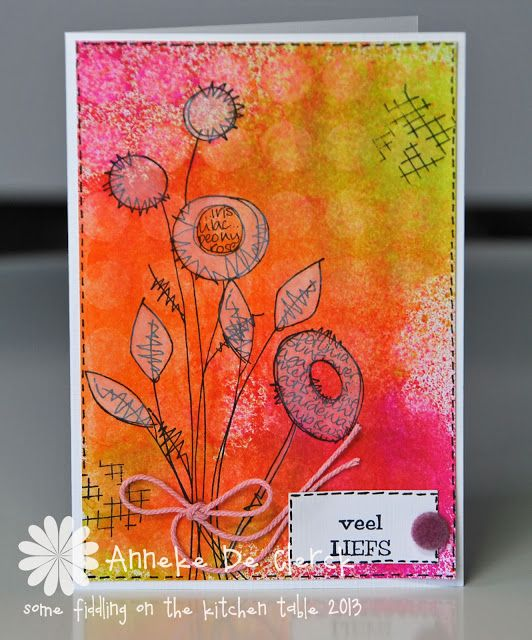 Jofy 12 stamp set by Paper Artsy, directions on blog, Some fiddling on the kitchen table: Dylusions