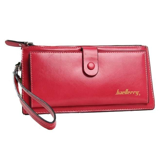 Baellerry Leather  Wristlet Wallet with strap in Watermelon red