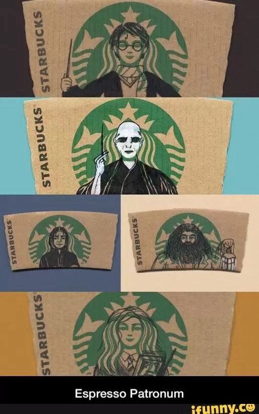 drawing, hermione granger, rubeus hagrid, severus snape, voldemort, ​starbucks, ️harry potter