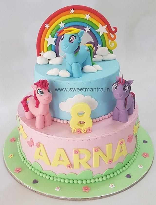 little pony cake design 2 layer My Little Pony theme 2 tier fondant cake with 2D pony figures