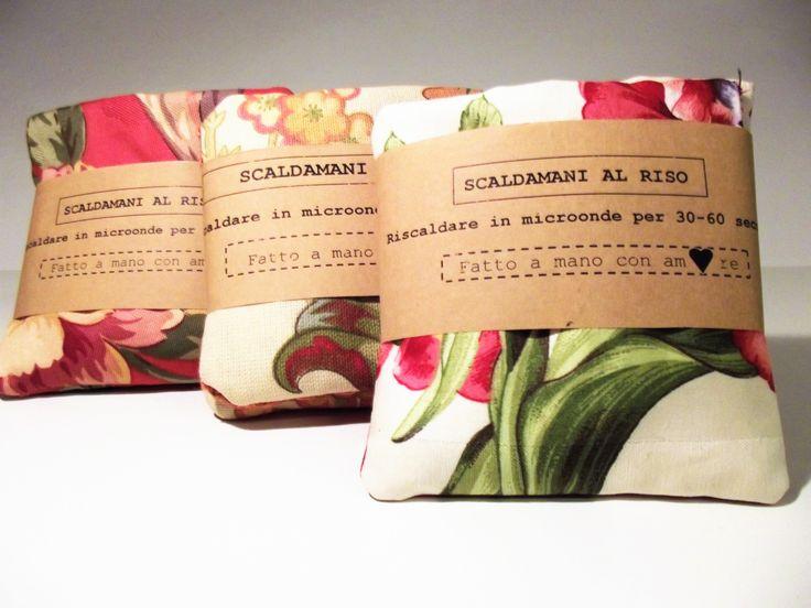 Scaldamani al riso, sacchetti in tessuto realizzato a mano con riso, da scaldare in microonde. per mani calde.da tenere in tasca, : Cura, benessere di lalunanelcomo