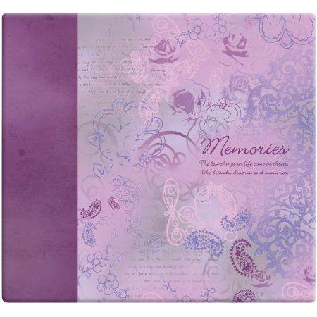 Inspirations Post Bound Paper Scrapbook, 12 inch x 12 inch, Memories, Purple