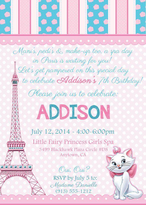 Aristocats In Paris Spa Birthday Digital Party Invitation