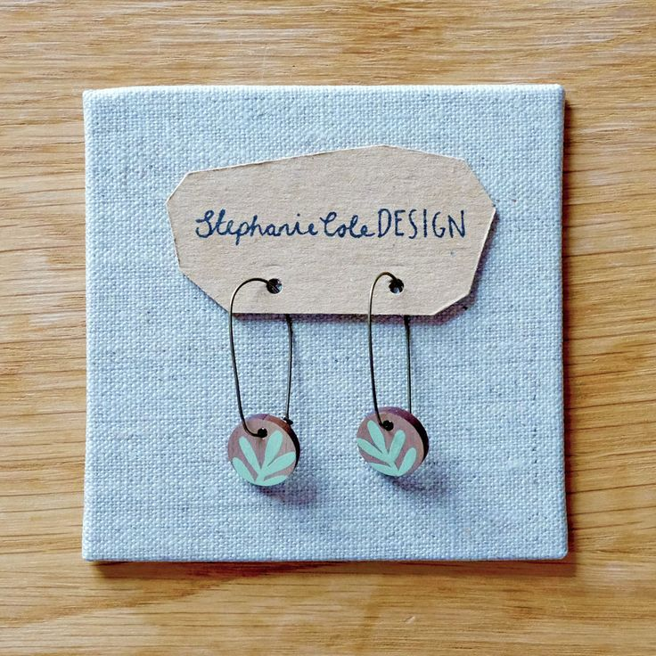 Wooden Sprig Leaf Round Long Hoop Earrings Mint Green ©Stephanie Cole 2017