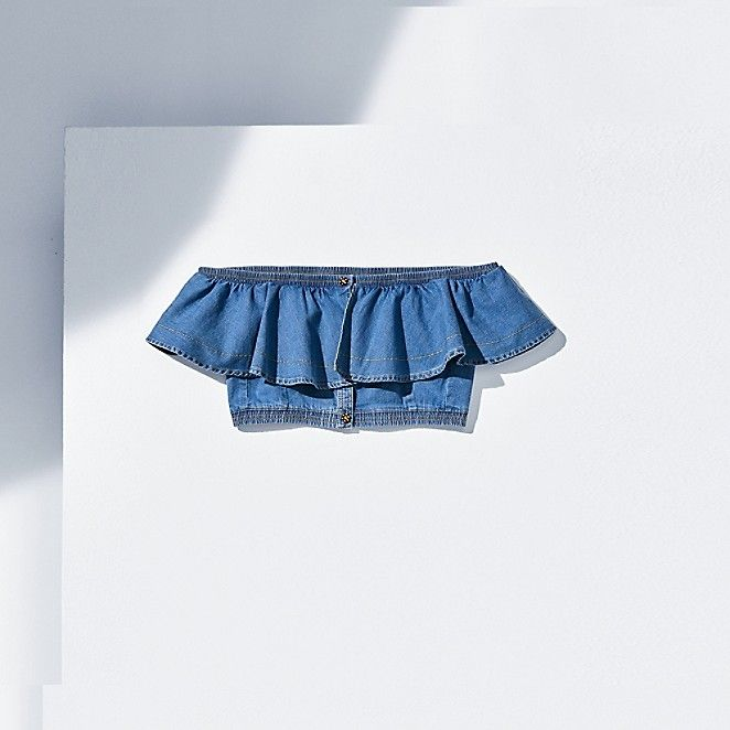 Image for CHAMBRAY BIB CROP TOP from Tommy Hilfiger