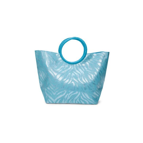 Animal Print Beach Tote (32 BGN) ❤ liked on Polyvore featuring bags, handbags, tote bags, blue tote bag, blue tote, pattern tote, metallic tote and beach tote