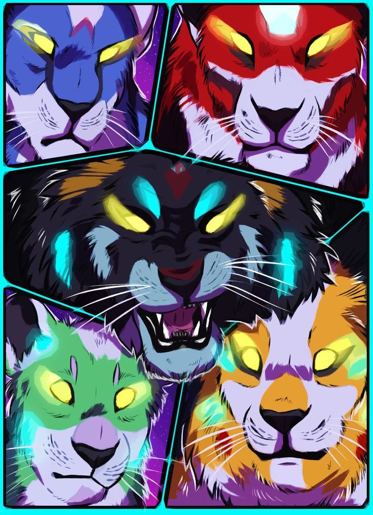 Voltron Lions- Black, Red, Blue, Green and Yellow Lions from Voltron Legendary Defender