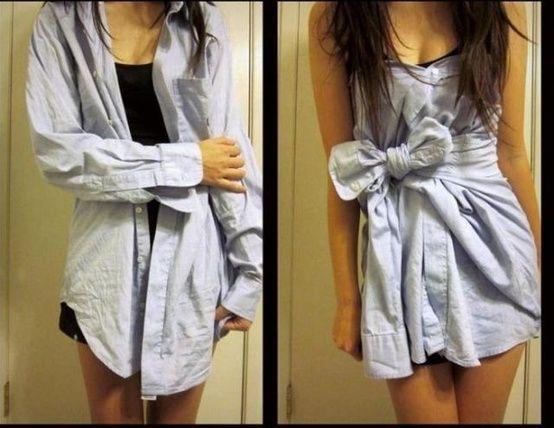 Boyfriend's shirt two ways