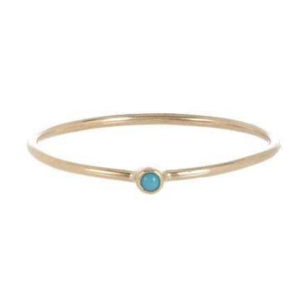 Simple and delicate.  Jennifer Meyer Turquoise & Gold Thin Ring at Barneys.com