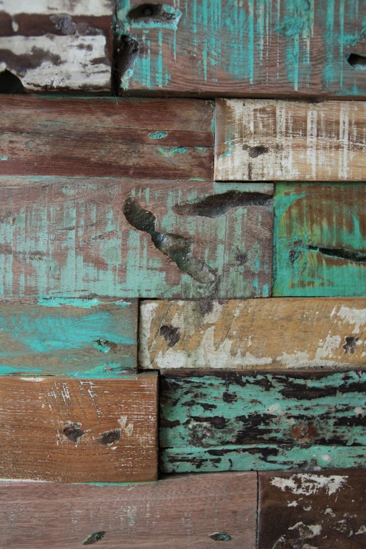 Wanddecoratie / wandpaneel / schilderij botenhout. Deze panelen worden gemaakt van oude boten uit Indonesië.