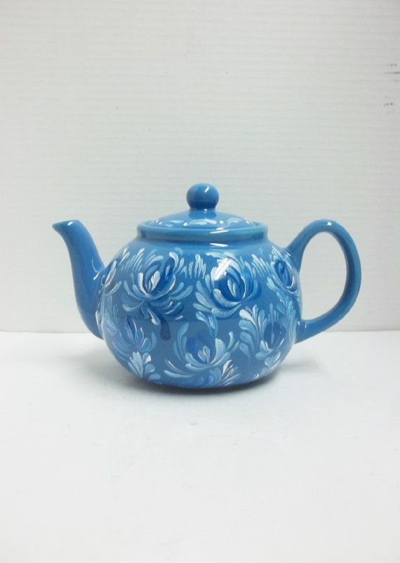 Blue Ceramic Teapot Scandinavian Teapot Hand by FolkArtByNancy