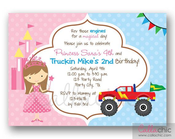 Princess and Monster Truck PRINTABLE - Twin / Joint / Split Birthday Party - Boy Girl - Sibling Birthday Invitation on Etsy, $14.00