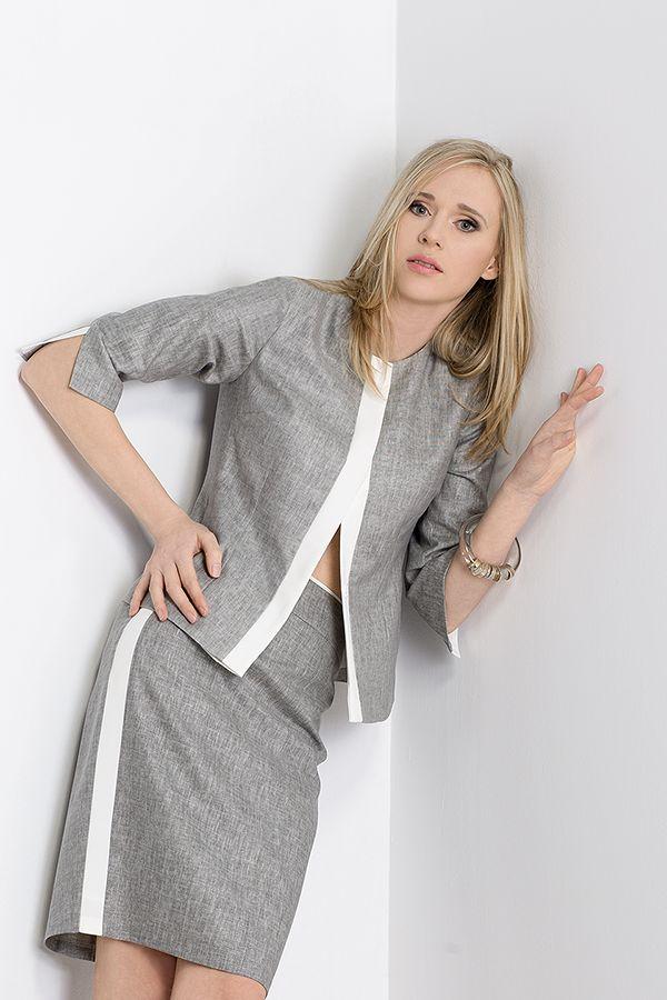 Lniany zestaw żakiet + spódnica z białym obramowaniem. Jacket and skirt linen set with white borders. http://www.bee.com.pl/e-sklep/