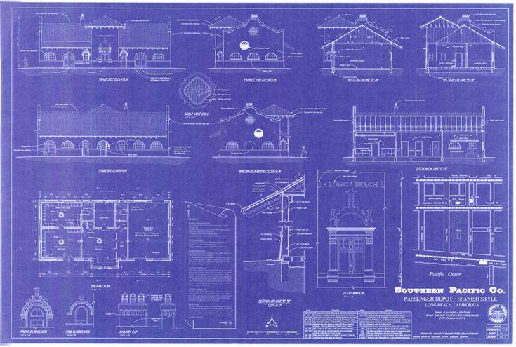 77 best railroad blueprints technical drawing whiteprints and 1906 southern pacific railroad depot long beach california handmade blueprint 24 x 36 ho malvernweather Choice Image