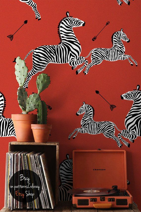Red Flying Zebra Wallpaper Abstract Wall Decor Jumping Etsy Zebra Wallpaper Zebra Print Walls Abstract Wall Decor