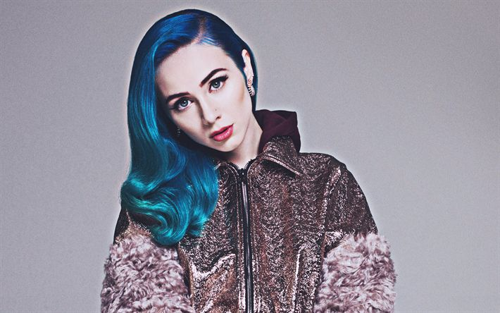 Download wallpapers 4k, Jaira Burns, 2018, photoshoot, blue hair, american singer, beauty, HDR
