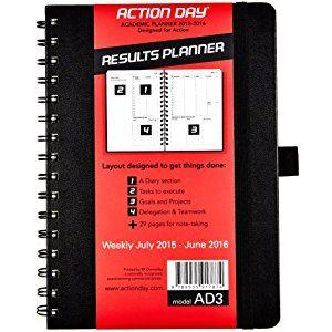 Action Day Planificateur académique hebdomadaire 2015–2016–Taille 6X 8–(Agenda scolaire Planning (+) étudiant (+) enseignants Planning (+) quotidien Planning Calendrier (+) Jour (+) Agenda scolaire Planning mensuel (+) (+) buts Journal (+) devoirs ordonnanceur (+) Liste des choses à faire) 6x8 - Year 2015-2016 noir