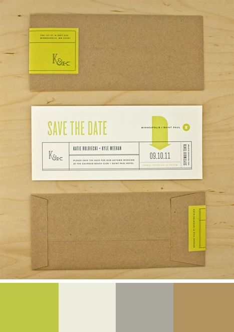 Save the dates in a rustic and modern color comb. Source: Invitation Crush #savethedates #chartreuse