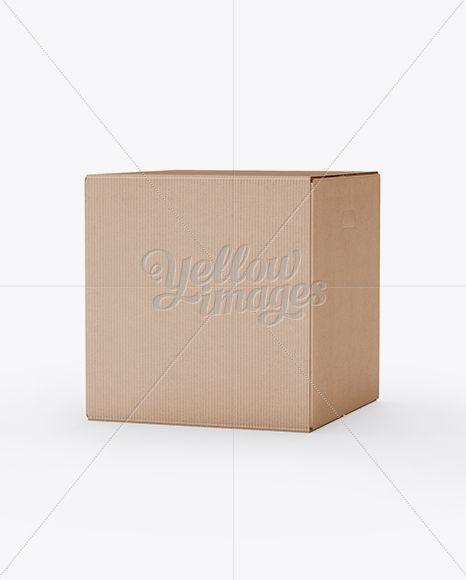 Corrugated Fiberboard Box Mockup – 25° Angle Front View (Eye-Level Shot)