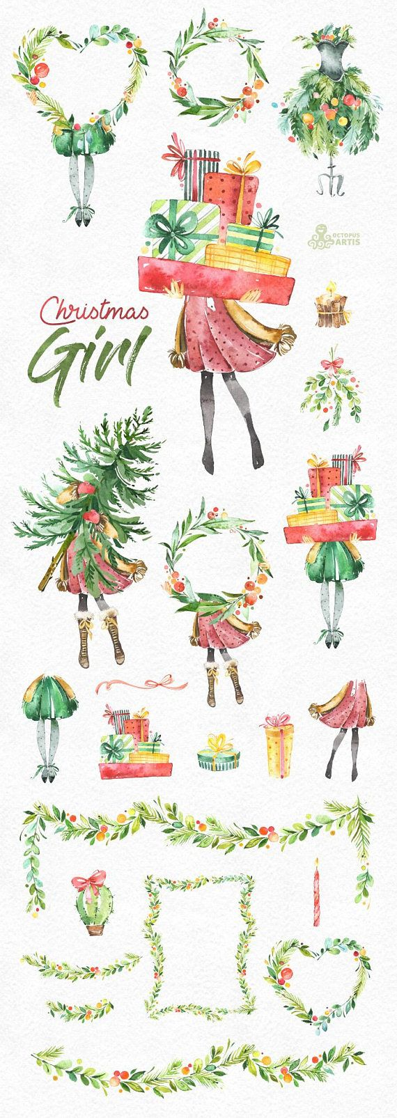This Christmas Girl set of 23 high quality hand painted watercolor graphics. Perfect graphic for Christmas project, greeting cards, photos, posters, quotes and more.  -----------------------------------------------------------------  INSTANT DOWNLOAD Once payment is cleared, you can download your files directly from your Etsy account.  -----------------------------------------------------------------  This listing includes:  23 x Images in PNG with transparent background, different size…