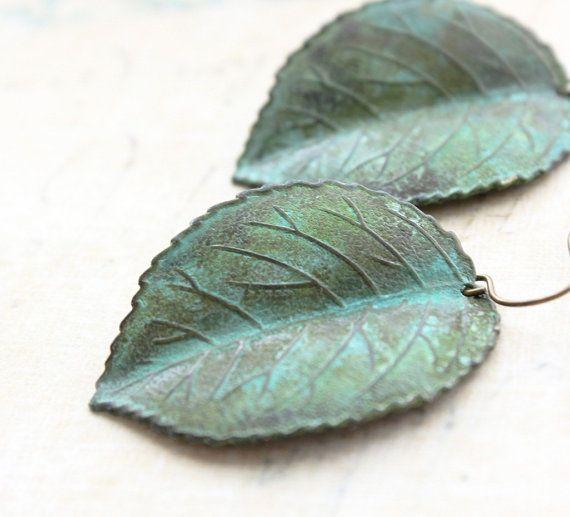 Verdigris Leaf Earrings Jade Green Patina door apocketofposies, $24.00