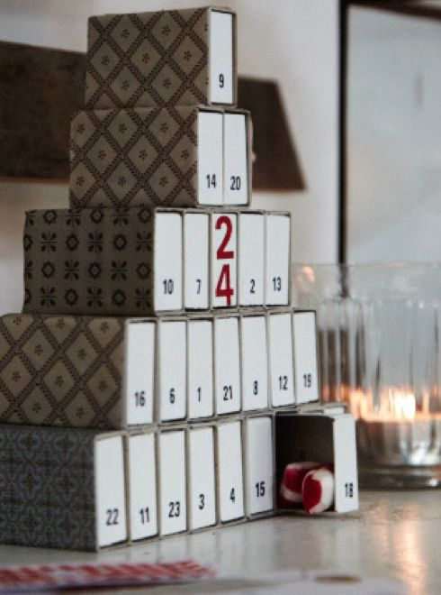 Sweet matchbox advent calendar idea. But where to find 24 empty matchboxes? blogg - by mildred