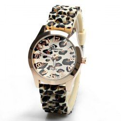 $4.98 Geneva Watch with 12 Numbers Indicate Round Dial Rubber Band for Women - Golden