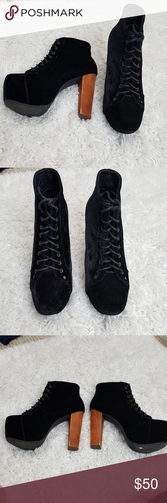 "Jeffrey Campbell Lita Fab Velvet Shoes 7.5 Black velvet upper. Man made soles. Wooden heels. Lightly worn, some wear on heels, please see all photos for the damage. Women's size 7.5  5"" platform  #2244 Jeffrey Campbell Shoes Platforms"