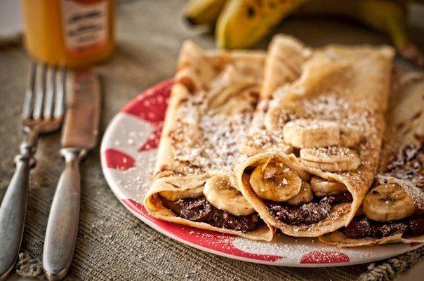 Блины с бананами и нутеллой » Кулинарные рецепты
