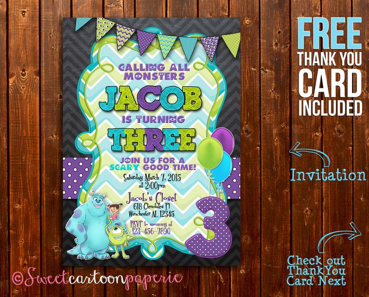Monster Inc Invitation,Monster Inc No Photo Invitation, Monster Birthday Party Invitation,Monster University Invitation, FREE Thank You Card by SweetCartoonPaperie on Etsy https://www.etsy.com/listing/224318714/monster-inc-invitationmonster-inc-no