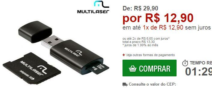Pendrive 3 em 1 Multilaser 8GB - Micro SD Cartão SD e Pendrive << R$ 1290 >>