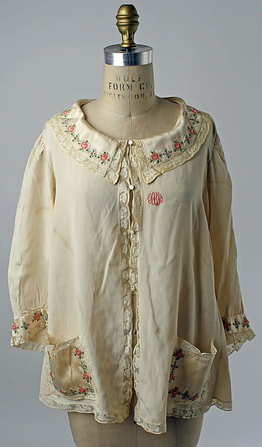 1940s american silk and cotton bed jacket vintage