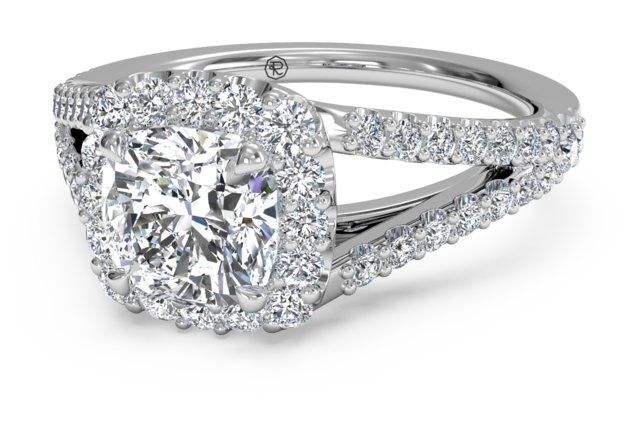 Cushion Halo Diamond 'V' Band Engagement Ring - in Palladium (0.50 CTW) with a 2.01 Carat, Cushion Diamond - Shadow