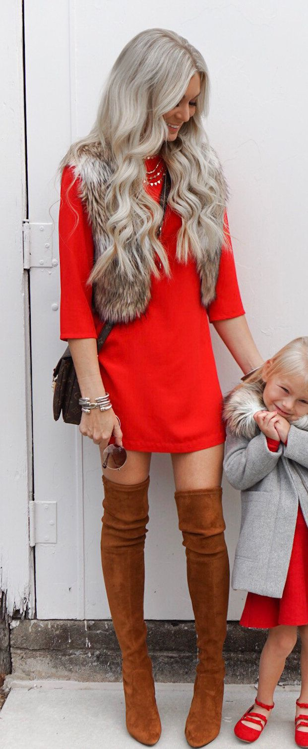 #winter #outfits red mini dress and pair of brown suede boots. Click To Shop This Look.