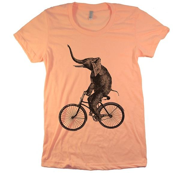 Women 39 s elephant on a bike t shirt seller for Elephant t shirt women s