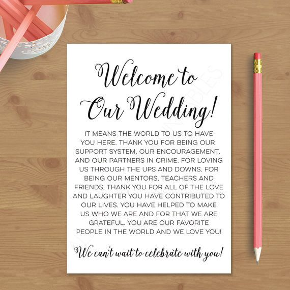Printable Wedding Welcome Letter, Instant Download, Destination Wedding, Welcome…                                                                                                                                                                                 More