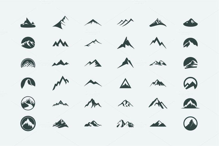 Packung mit 12 Bergen Logo, 62 Icons von AliceNoir…
